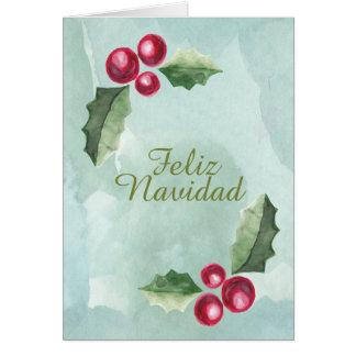 Tarjeta Acuarela de la baya del acebo del navidad de Feliz