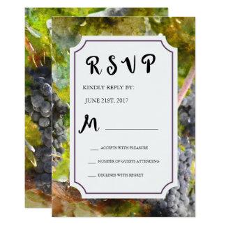 Tarjeta Acuarela de la uva y del viñedo que casa RSVP