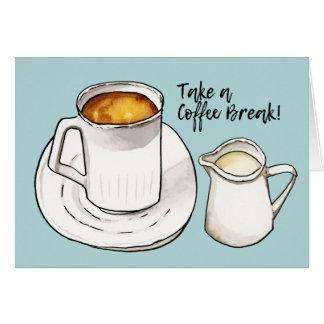 Tarjeta Acuarela del descanso para tomar café y ejemplo de