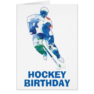 Tarjeta Acuarela del jugador de hockey del feliz