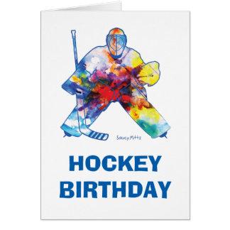 Tarjeta Acuarela del portero del hockey del feliz