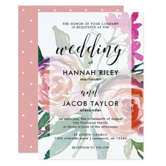 Tarjeta Acuarela delicada floral con el boda de la capa