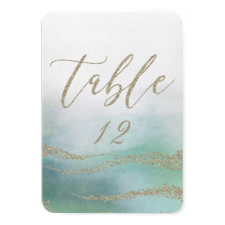 Tarjeta Acuarela elegante en números de la tabla del boda