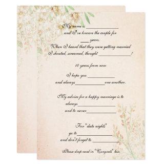 Tarjeta Acuarela floral, consejo divertido de la boda,