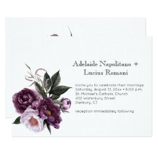Tarjeta Acuarela floral del rosa púrpura del ciruelo que