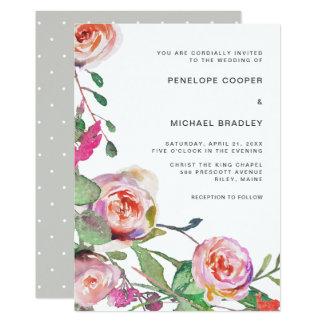 Tarjeta Acuarela floral y el casarse de los puntos