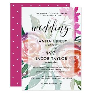 Tarjeta Acuarela intrépida floral con el boda de la capa