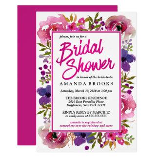 Tarjeta Acuarela moderna floral del boda de la ducha