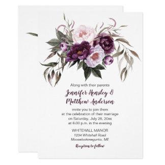 Tarjeta Acuarela púrpura #3 que se casa floral del rosa