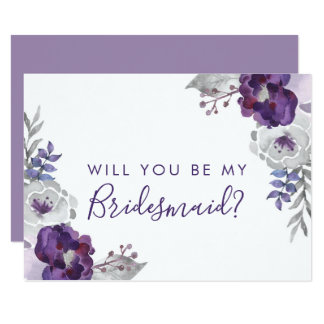 Tarjeta Acuarela púrpura usted será mi dama de honor