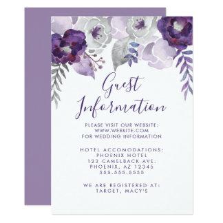Tarjeta Acuarela púrpura y de plata Info que se casa