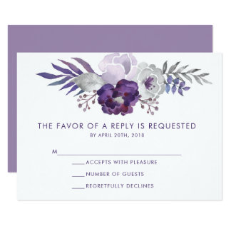 Tarjeta Acuarela púrpura y de plata RSVP que se casa