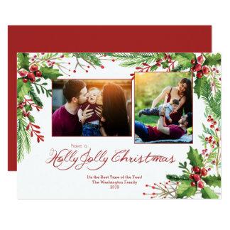 Tarjeta Acuarela verde roja dos del acebo 2 navidad de la