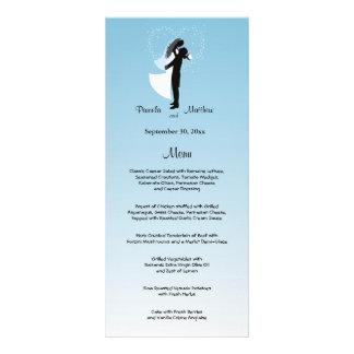 Tarjeta adaptable azul del menú del boda de Ombre Lona Personalizada