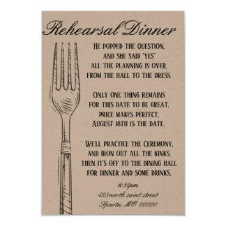 Tarjeta adaptable de la cena del ensayo