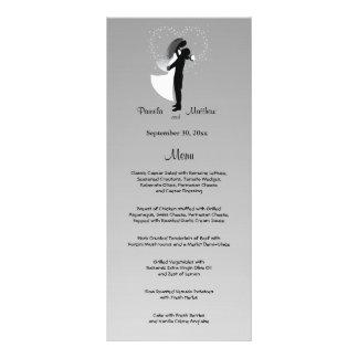 Tarjeta adaptable de plata del menú del boda de tarjetas publicitarias