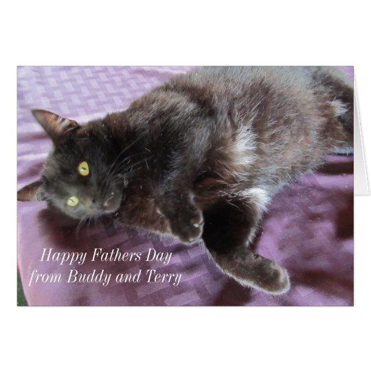 Tarjeta adaptable del día de padre con el gato