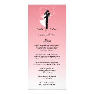 Tarjeta adaptable rosada del menú del boda de lonas