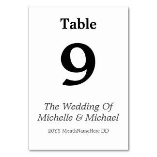 Tarjeta adaptable y llana del número de la tabla