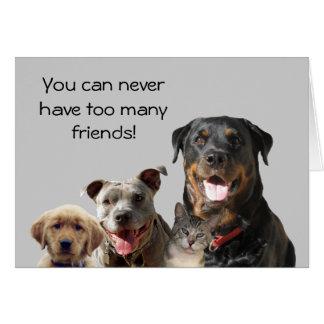 Tarjeta adorable de la amistad de los mascotas