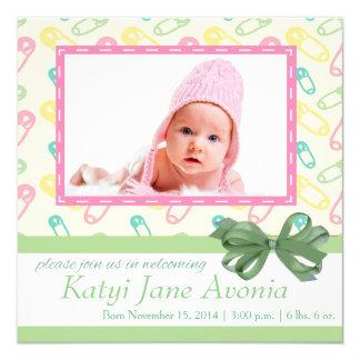 Tarjeta adorable de la invitación del bebé invitación 13,3 cm x 13,3cm