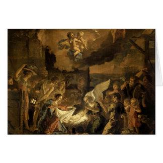 Tarjeta Adoración del navidad de la bella arte de los