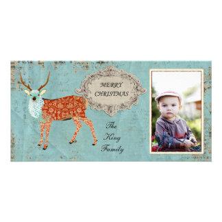 Tarjeta adornada ambarina de la foto del navidad d tarjetas fotograficas personalizadas