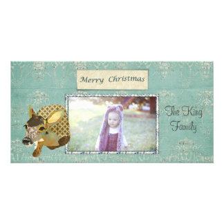 Tarjeta adornada de la foto de las Felices Navidad Tarjeta Con Foto Personalizada