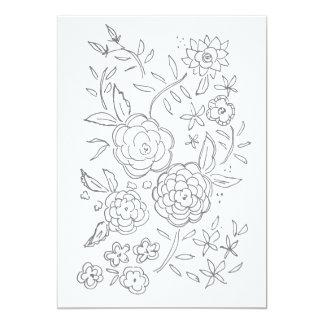 Tarjeta adulta del colorante de la rosaleda de la invitación 12,7 x 17,8 cm