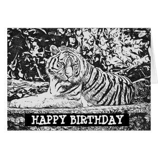 Tarjeta adulta del feliz cumpleaños del tigre del
