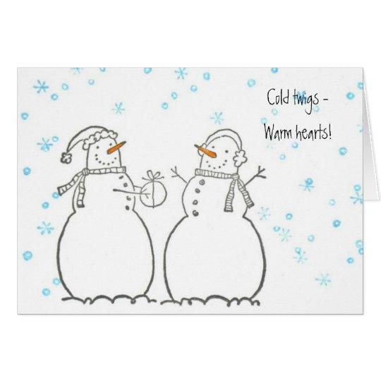 Tarjeta afectuosa de los muñecos de nieve