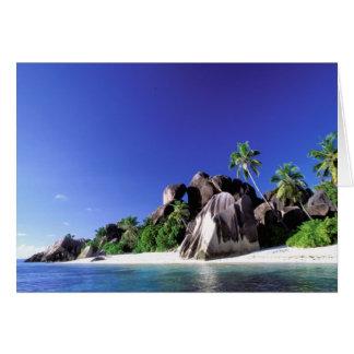 Tarjeta África, Seychelles, isla de Digue del La. Granito