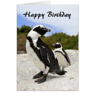 Tarjeta africana de los pingüinos del feliz cumple
