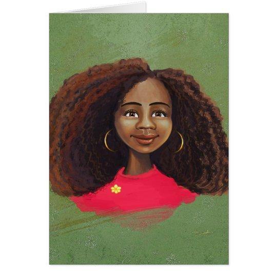 Tarjeta afroamericana del retrato del chica