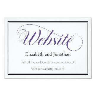 Tarjeta agraciada púrpura del Web site del boda de