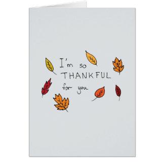 Tarjeta Agradecido lindo para usted acción de gracias