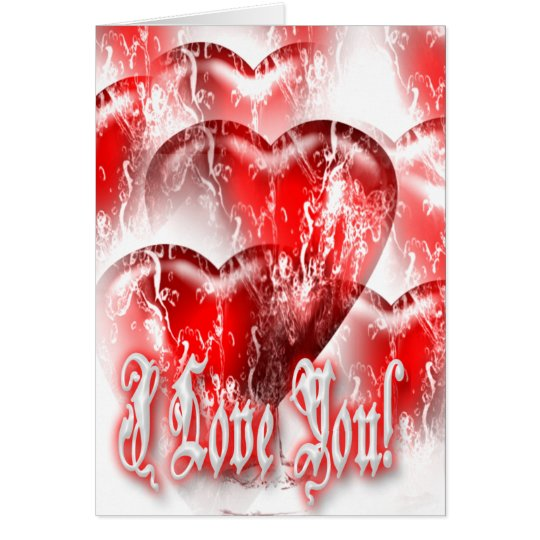 tarjeta Agua-salpicada de los corazones te amo