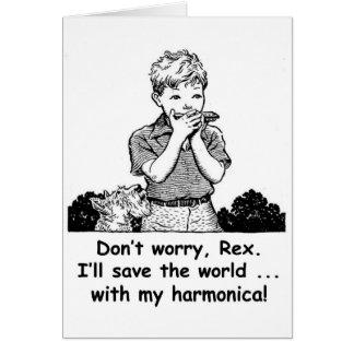 Tarjeta ¡Ahorraré el mundo… con mi armónica!