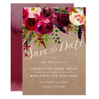 Tarjeta AHORRE el boda rústico floral elegante de la FECHA