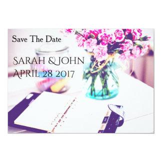 Tarjeta Ahorre la fecha - bonito en rosa
