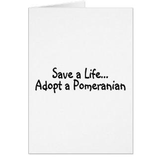 Tarjeta Ahorre una vida adoptan un Pomeranian