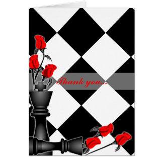 Tarjeta Ajedrez y boda gótico de los rosas