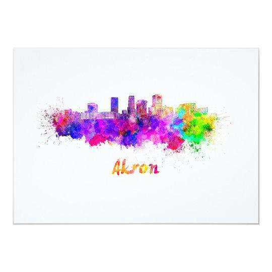 Tarjeta Akron OH skyline in watercolor