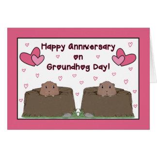 Tarjeta Al cónyuge, aniversario feliz el día de la marmota