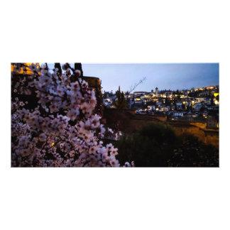 Tarjeta Albayzin de Granada visto de la almendra de