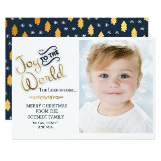 Tarjeta Alegría de los azules marinos y del oro al navidad