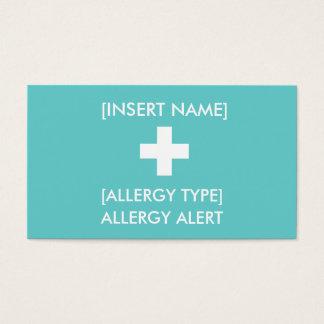 Tarjeta alerta de la alergia ID/ICE