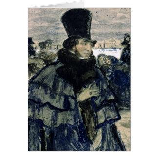 Tarjeta Alexander Pushkin en el terraplén de Neva