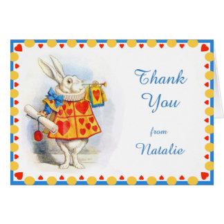 Tarjeta Alicia en el personalizado blanco del conejo del