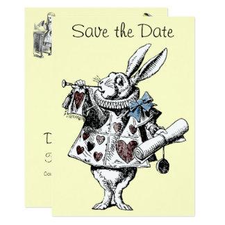 Tarjeta Alicia en reserva del conejo del país de las
